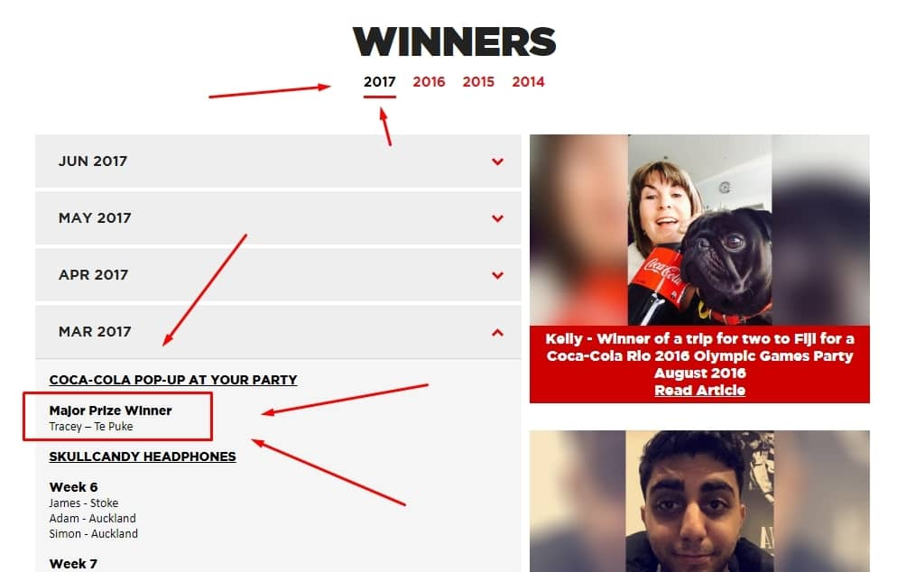 COCA-COLA POP-UP AT YOUR PARTY   Major Prize Winner Tracey – Te Puke