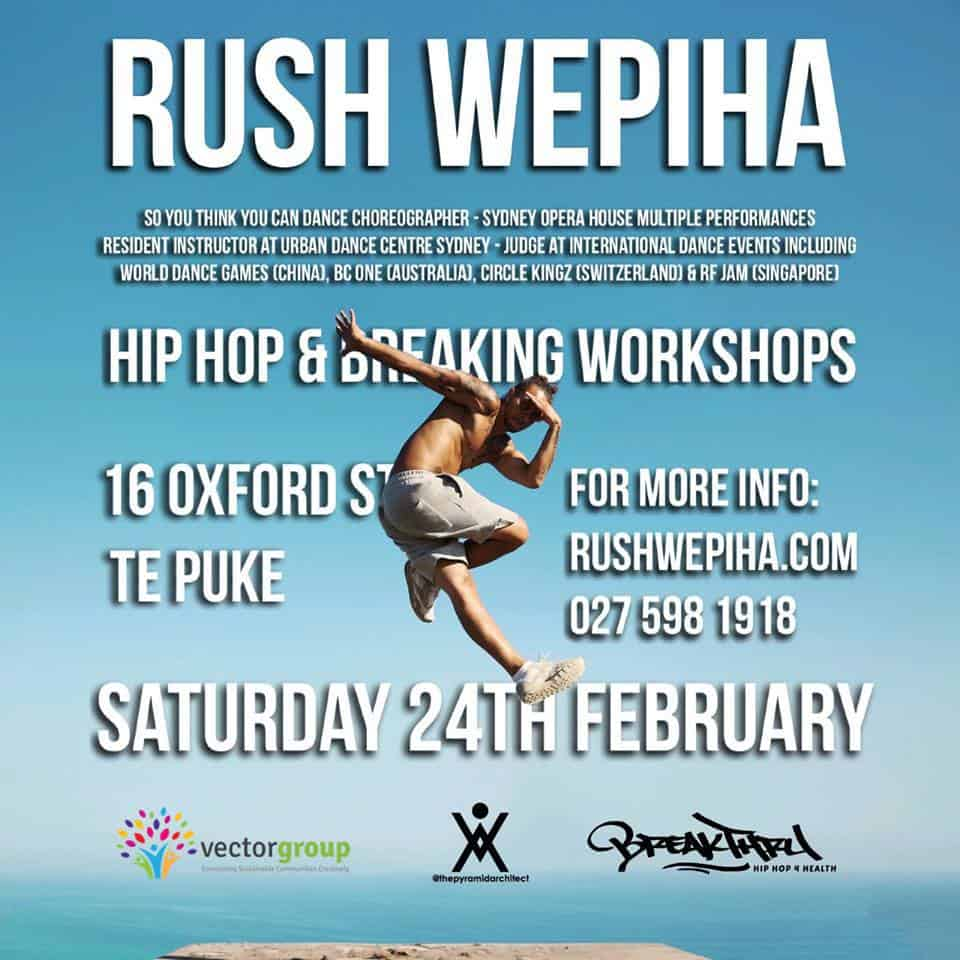 Rush Wepiha - Hip Hop and Breaking Workshops at Vector Group Charitable Trust