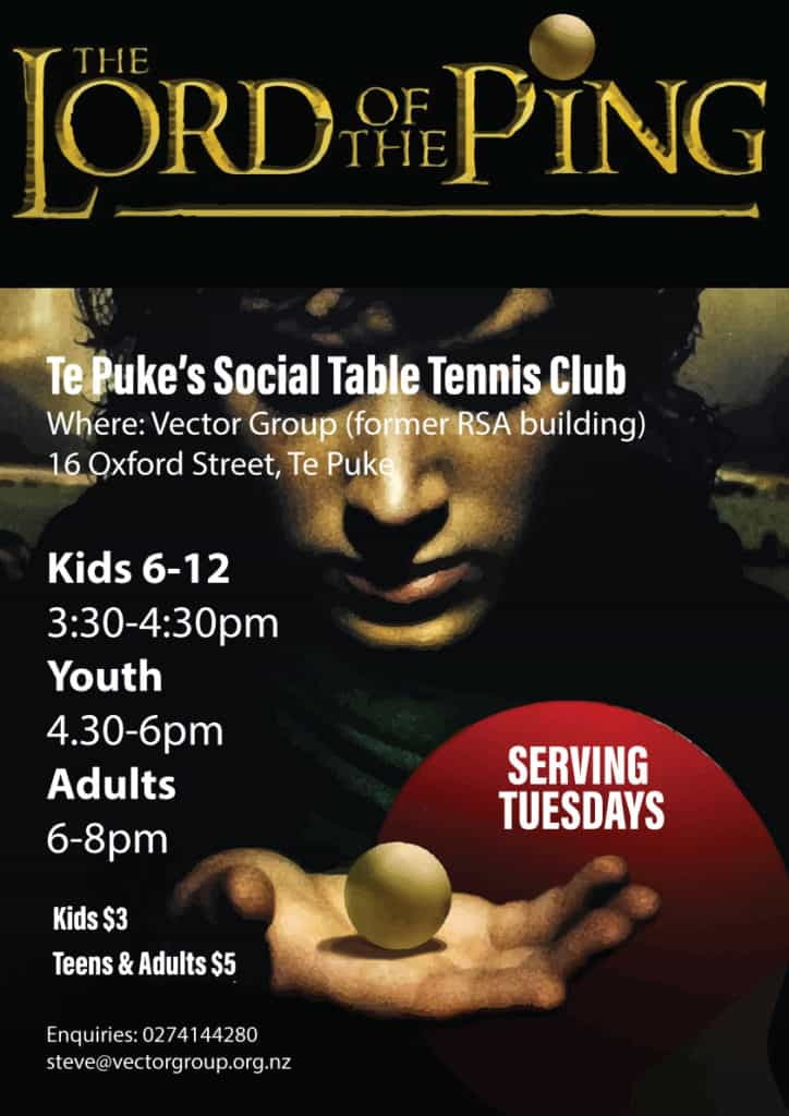 Lord of the Ping, Te Puke Social Table Tennis